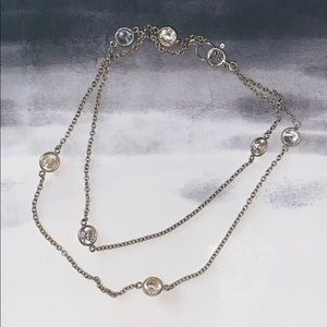925 Sterling Silver Chain with Crystals